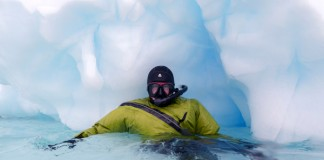 Waterproof Expeditions provides each participant a state-of-the-art Waterproof© D9 Snorkel Dry Suit – specially designed for polar snorkeling – as well as hood, gloves, boots and a full snorkel set including fins, mask and snorkel. Photo by Aurora Expeditions