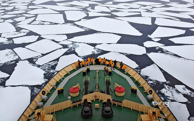 Viewing the frozen seas aboard the Kapitan Khlebnikov.