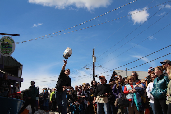 Tossing a turkey at the Frozen Dead Guy Days Festival in Nederland, Colorado