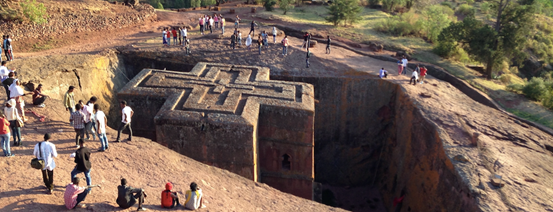 12th Century monolithic rock-hewn church of Bete Giyorgis [St. George's] in Lalibela, Ethiopia Photo by Sam