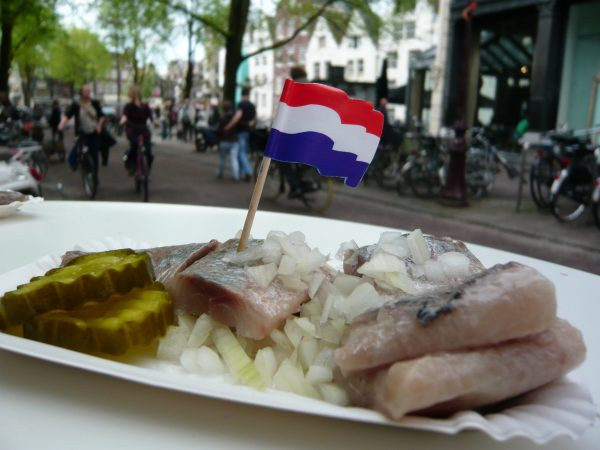 Herring with pickles and onions, a Dutch classic.